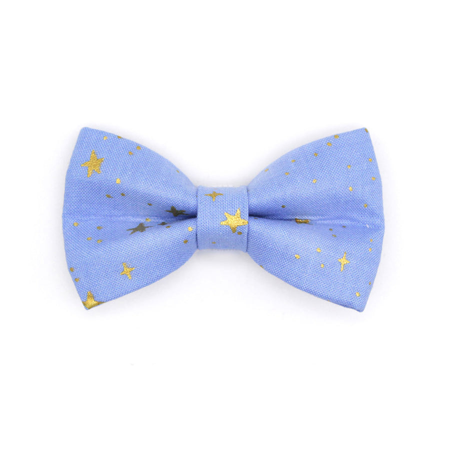 "Rifle Paper Co® Bow Tie Cat Collar Set - ""Dusk"" - Periwinkle Blue w/ Gold Stars Cat Collar w/ Matching Bowtie / Cat, Kitten, Small Dog Sizes"