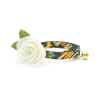 "Cat Collar + Flower Set - ""Book Lover"" - Green Cat Collar w/ Ivory Felt Flower (Detachable)"