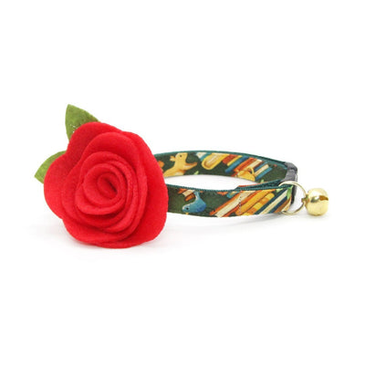 "Cat Collar + Flower Set - ""Book Lover"" - Green Cat Collar w/ Red Felt Flower (Detachable)"