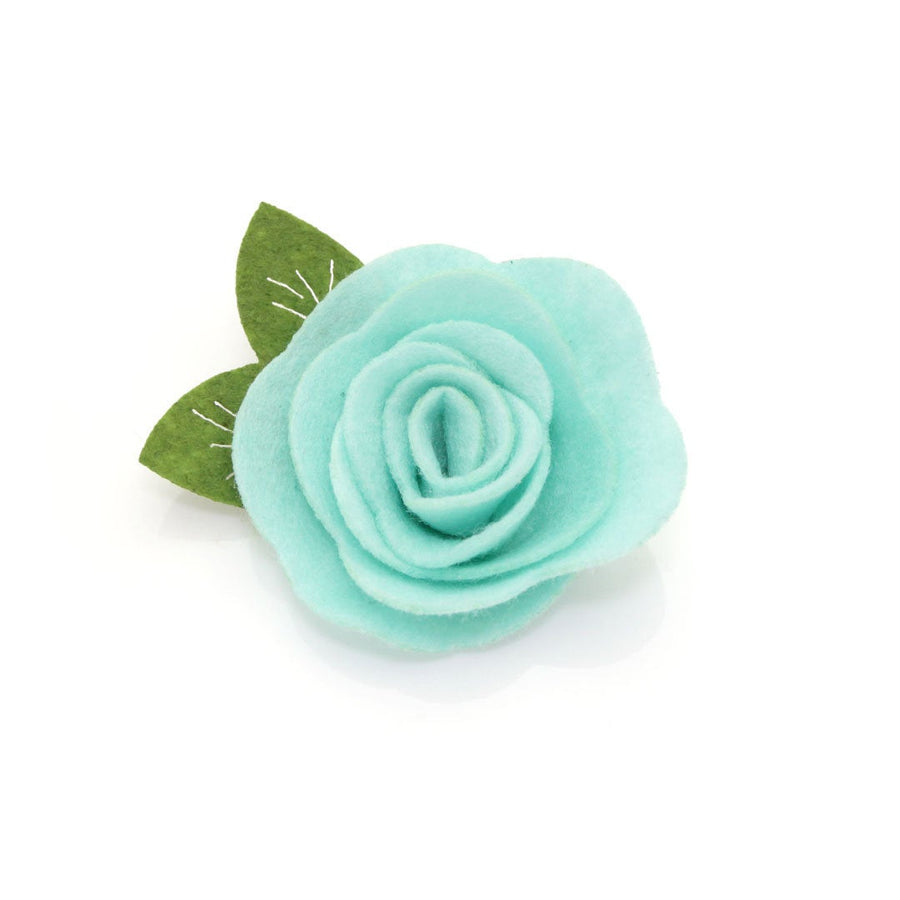 "Cat Collar + Flower Set - ""Book Lover"" - Green Cat Collar w/ Mint Felt Flower (Detachable)"