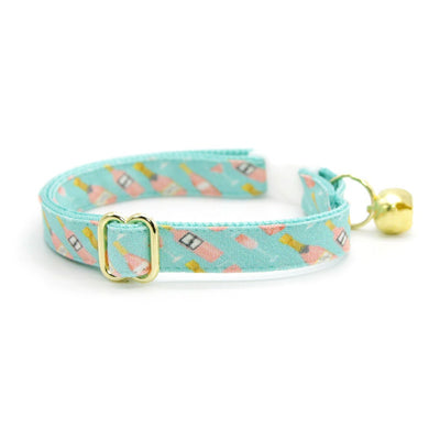 "Cat Collar + Flower Set - ""Rosé All Day"" - Pink Rose Wine on Mint Cat Collar w/ Mint Felt Flower (Detachable)"