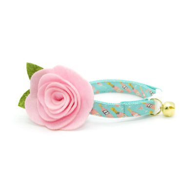 "Cat Collar + Flower Set - ""Rosé All Day"" - Pink Rose Wine on Mint Cat Collar w/ Baby Pink Felt Flower (Detachable)"