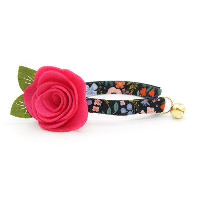"Rifle Paper Co® Cat Collar + Flower Set - ""Muse"" - Black Floral Cat Collar w/ Fuchsia Felt Flower (Detachable)"