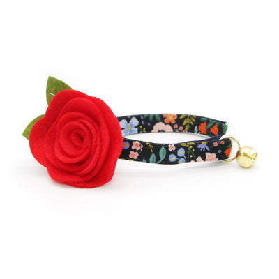 "Rifle Paper Co® Cat Collar + Flower Set - ""Muse"" - Black Floral Cat Collar w/ Red Felt Flower (Detachable)"