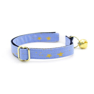 "Rifle Paper Co® Cat Collar + Flower Set - ""Dusk"" - Periwinkle w/ Gold Stars Cat Collar + Lavender Felt Flower (Detachable)"