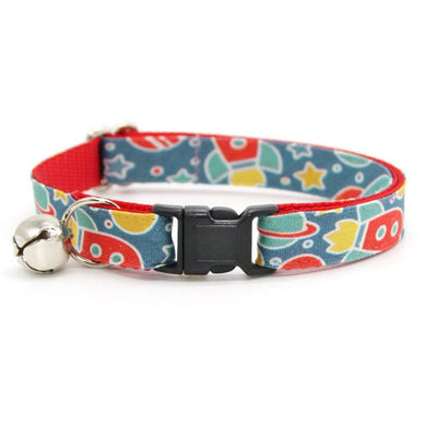 "Cat Collar - ""Intergalactic"" - Space Cat Collar / Breakaway or Non-Breakaway / Spaceship, Rocket, Sci-fi, Geek / Cat, Kitten, Small Dog Sizes"