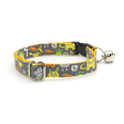 "Cat Collar - ""Monster Medley"" - Monsters & Aliens Cat Collar / Breakaway Buckle or Non-Breakaway / Cat, Kitten + Small Dog Sizes"