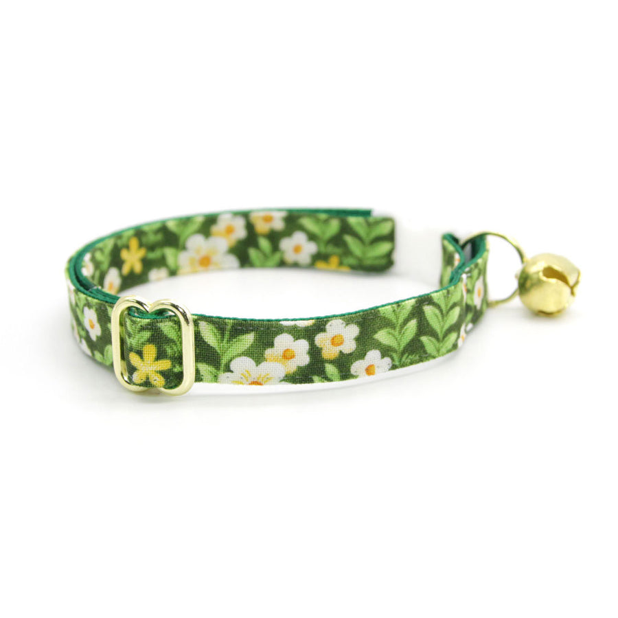 "Cat Collar - ""Hazel"" - Green Floral Cat Collar / Breakaway Buckle or Non-Breakaway / Cat, Kitten + Small Dog Sizes"