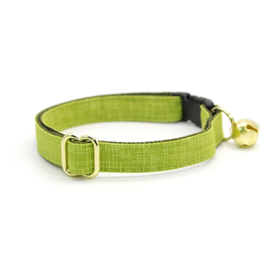 "Cat Collar - ""Chartreuse"" - Green Cat Collar / Breakaway or Non-Breakaway / Spring, Summer, Wedding / Cat, Kitten, Small Dog Sizes"