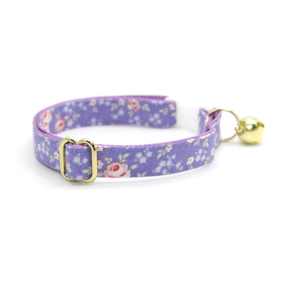 "Cat Collar - ""Wisteria Way"" - Lavender Purple Floral Cat Collar / Breakaway Buckle or Non-Breakaway / Cat, Kitten + Small Dog Sizes"
