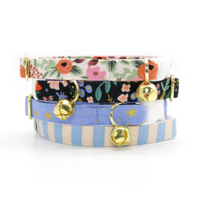 "Rifle Paper Co® Cat Collar - ""Dusk"" - Gold Stars on Periwinkle Cat Collar / Breakaway Buckle or Non-Breakaway / Cat, Kitten + Small Dog Sizes"