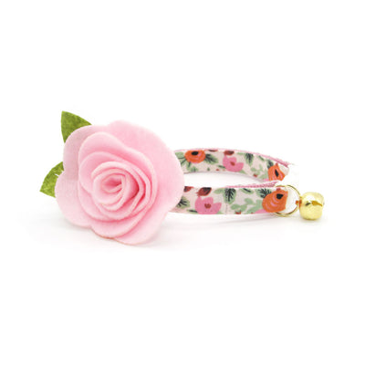 "Rifle Paper Co® Cat Collar - ""Juliet"" - Pink Floral Cat Collar / Breakaway Buckle or Non-Breakaway / Cat, Kitten + Small Dog Sizes"