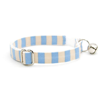 "Rifle Paper Co® Cat Collar - ""Dandy"" - Peach & Periwinkle Blue Stripe Cat Collar / Breakaway Buckle or Non-Breakaway / Cat, Kitten + Small Dog Sizes"