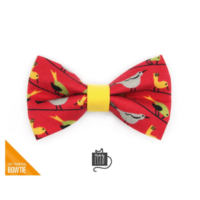 "Pet Bow Tie - ""Bird Song"" - Birds on Red Bow Tie for Cat / Bird Lover, Audubon, Nature / For Cats + Small Dogs (One Size)"