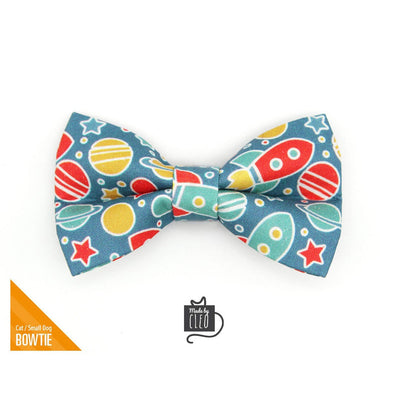 "Pet Bow Tie - ""Intergalactic"" - Space Bow Tie for Cat / Spaceship, Rocket, Galaxy, Geek, Sci-fi / For Cats + Small Dogs (One Size)"