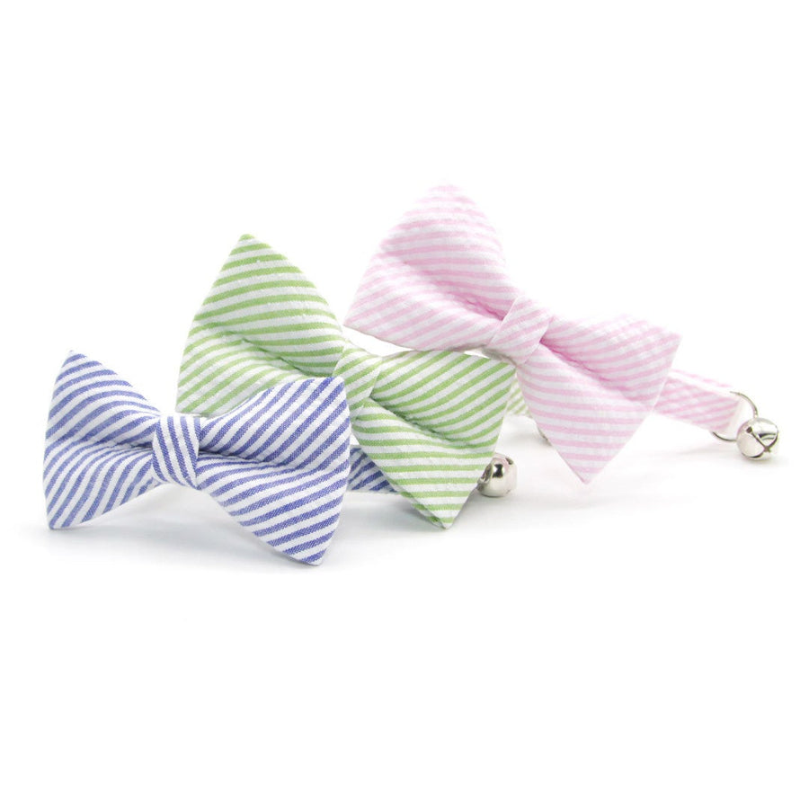 "Pet Bow Tie - ""Posey"" - Pink Seersucker Bow Tie for Cat / Spring, Summer, Preppy, Derby / For Cats + Small Dogs (One Size)"