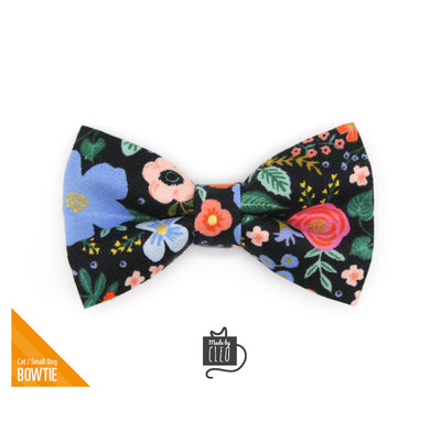 "Rifle Paper Co® Pet Bow Tie - ""Muse"" - Black Floral Bow Tie for Cat / Spring, Summer / For Cats + Small Dogs (One Size)"