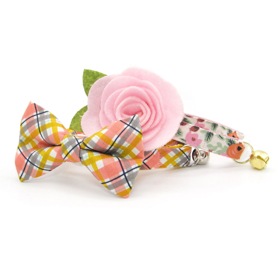 "Rifle Paper Co® Pet Bow Tie - ""Juliet"" - Blush Pink Floral Bow Tie for Cat / Spring, Summer / Cat, Kitten, Small Dog Bowtie (ONE SIZE)"