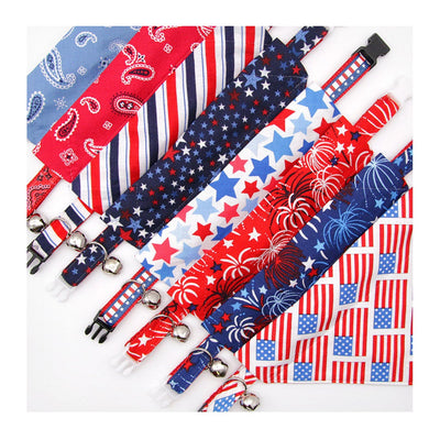"Pet Bandana - ""Parade"" - Patriotic Stars Bandana for Cat + Small Dog / Independence Day / Slide-on Bandana / Over-the-Collar"