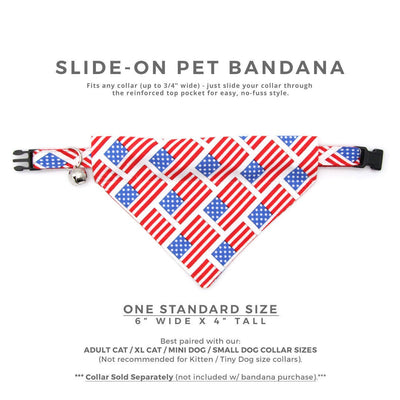 "Pet Bandana - ""Old Glory"" - American Flag Bandana for Cat + Small Dog / US Flag / 4th of July / Patriotic / Slide-on Bandana / Over-the-Collar"