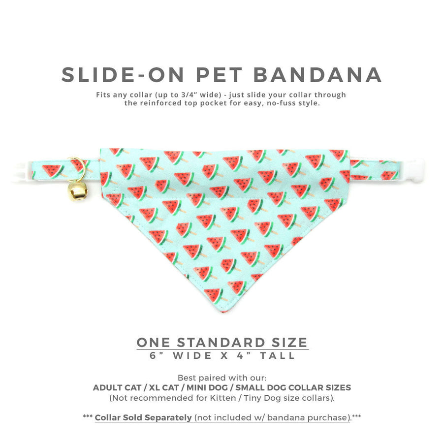 "Pet Bandana - ""Watermelon Pops"" - Fruit Bandana for Cat + Small Dog / Food, Popsicle, Summer, Fun / Slide-on Bandana / Over-the-Collar"
