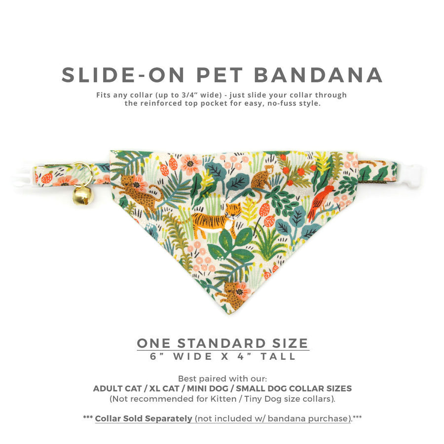 "Rifle Paper Co® Cat Bandana - ""Jungle Ivory"" - Tropical Bandana for Cat + Small Dog / Botanical / Summer / Slide-on Bandana / Over-the-Collar"