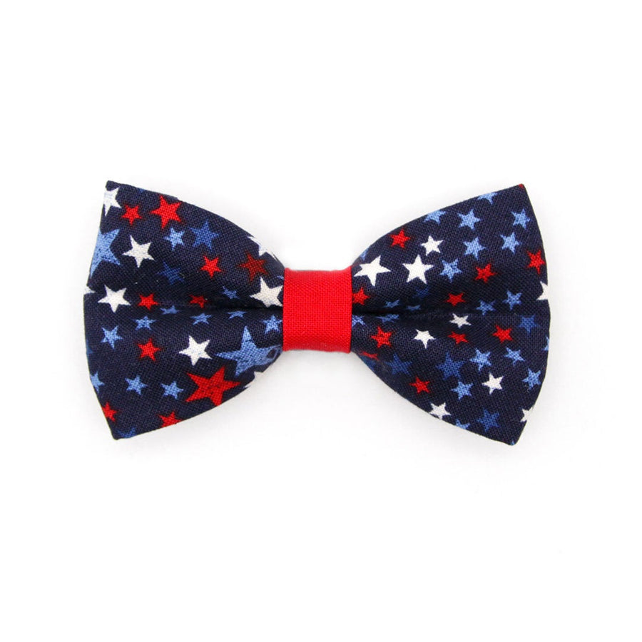 "Bow Tie Cat Collar Set - ""Freedom Stars"" - Patriotic Cat Collar w/ Matching Bowtie / Cat, Kitten, Small Dog Sizes"