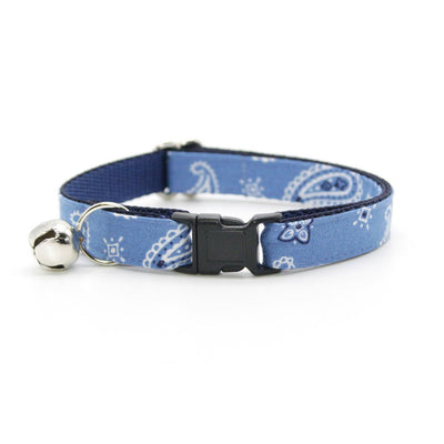 "Cat Collar + Flower Set - ""Lone Ranger Blue"" - Handkerchief Paisley Cat Collar w/ Sky Blue Felt Flower (Detachable)"