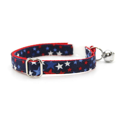 "Cat Collar + Flower Set - ""Freedom Stars"" - Patriotic Cat Collar w /  Scarlet Red Felt Flower (Detachable) / Independence Day"