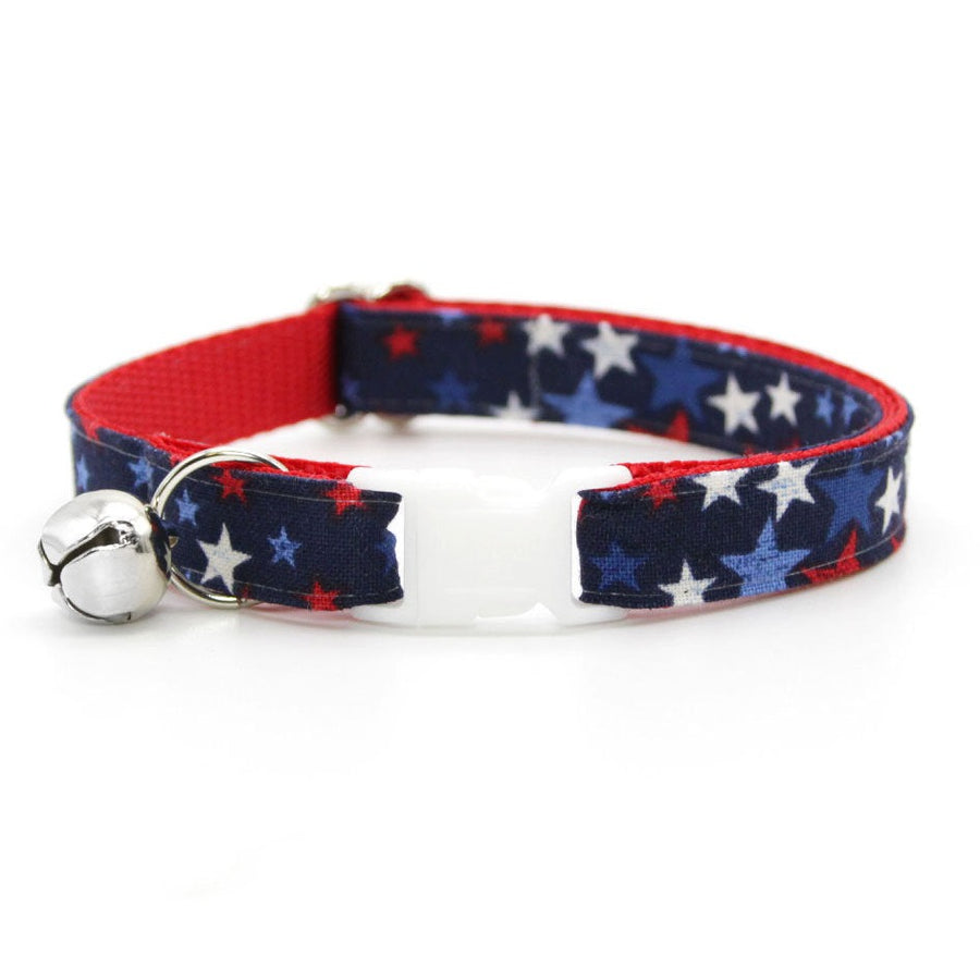 "Cat Collar - ""Freedom Stars"" - Patriotic Cat Collar / Breakaway Buckle or Non-Breakaway / Cat, Kitten + Small Dog Sizes"