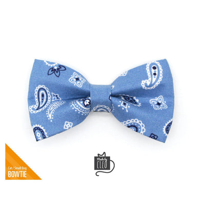 "Cat Bow Tie - ""Lone Ranger Blue"" - Western Handkerchief Blue Bow Tie for Cat Collar / Cowboy / Cat, Kitten + Small Dog Bowtie (ONE SIZE)"