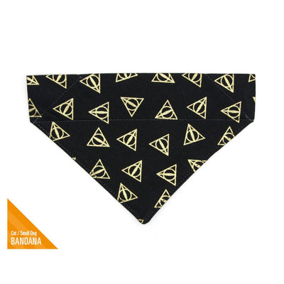 "Pet Bandana - ""Deathly Hallows"" - Harry Potter-Inspired Black & Gold Bandana for Cat Collar or Small Dog Collar / Slide-on Bandana / Over-the-Collar (One Size)"