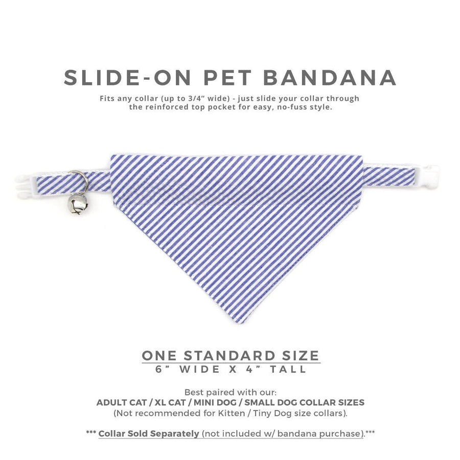 "Pet Bandana - ""Newport"" - Blue Seersucker Bandana for Cat Collar or Small Dog Collar / Slide-on Bandana / Over-the-Collar (One Size)"