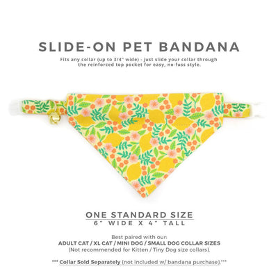 "Pet Bandana - ""Lemon Trees - Yellow"" - Lemon Floral Bandana for Cat Collar or Small Dog Collar / Slide-on Bandana / Over-the-Collar (One Size)"