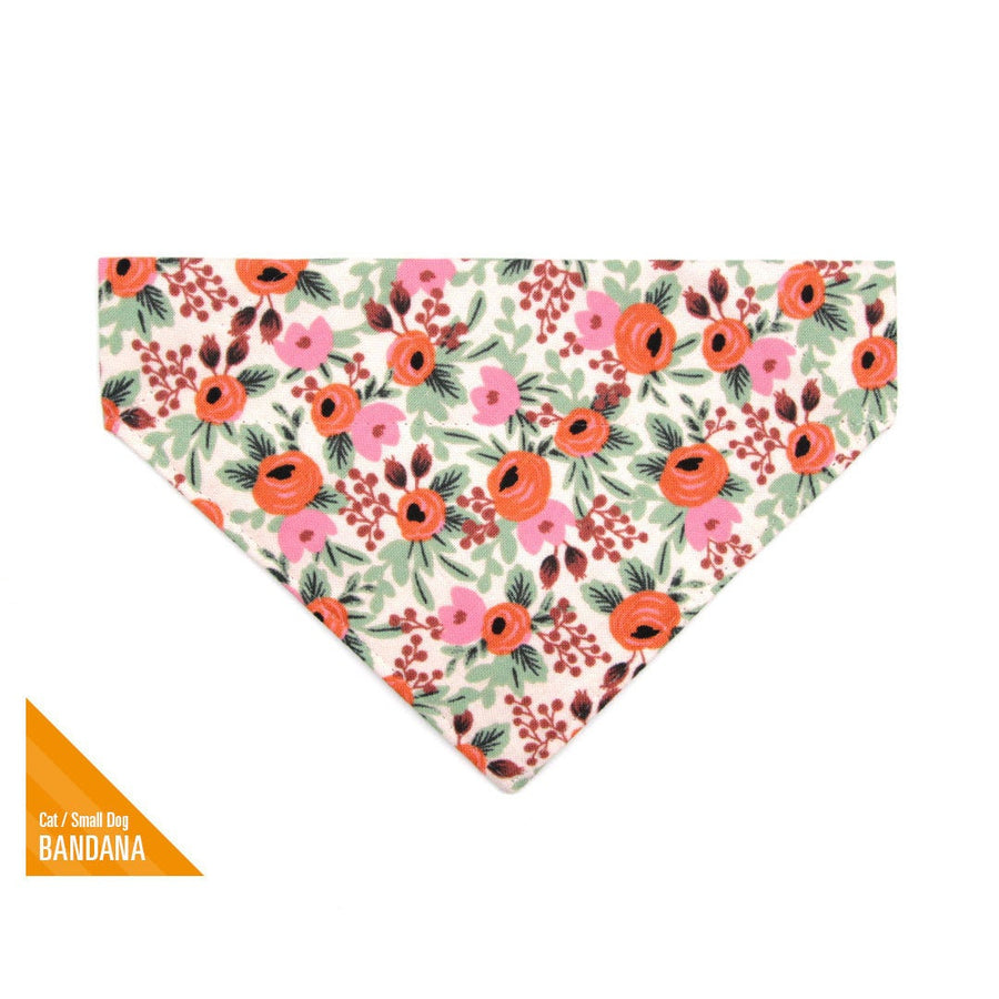 "BACKORDER 1/25 - Rifle Paper Co® Pet Bandana - ""Juliet"" - Blush Floral Bandana for Cat + Small Dog / Slide-on Bandana / Over-the-Collar (One Size)"