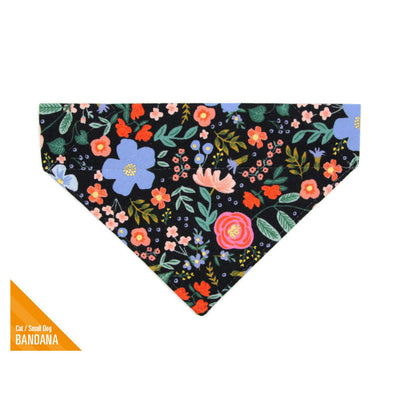 "Rifle Paper Co® Pet Bandana - ""Muse"" - Black Floral Bandana for Cat + Small Dog / Slide-on Bandana / Over-the-Collar (One Size)"