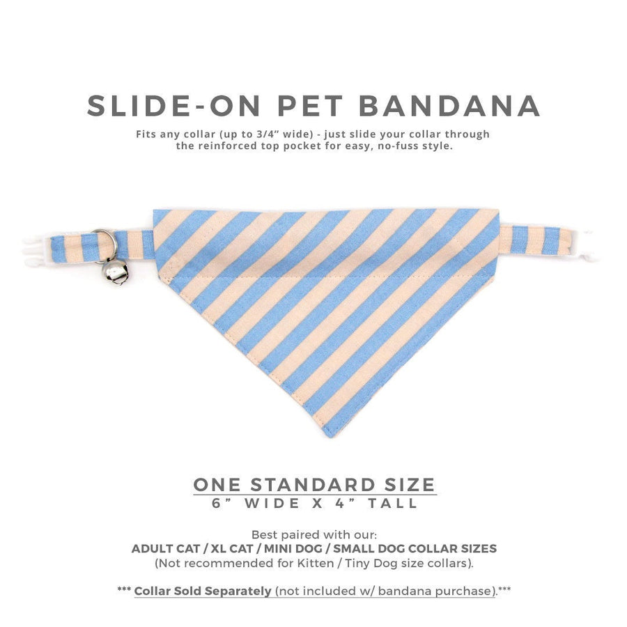 "Rifle Paper Co® Pet Bandana - ""Dandy"" - Periwinkle + Peach Stripe Bandana for Cat + Small Dog / Slide-on Bandana / Over-the-Collar (One Size)"