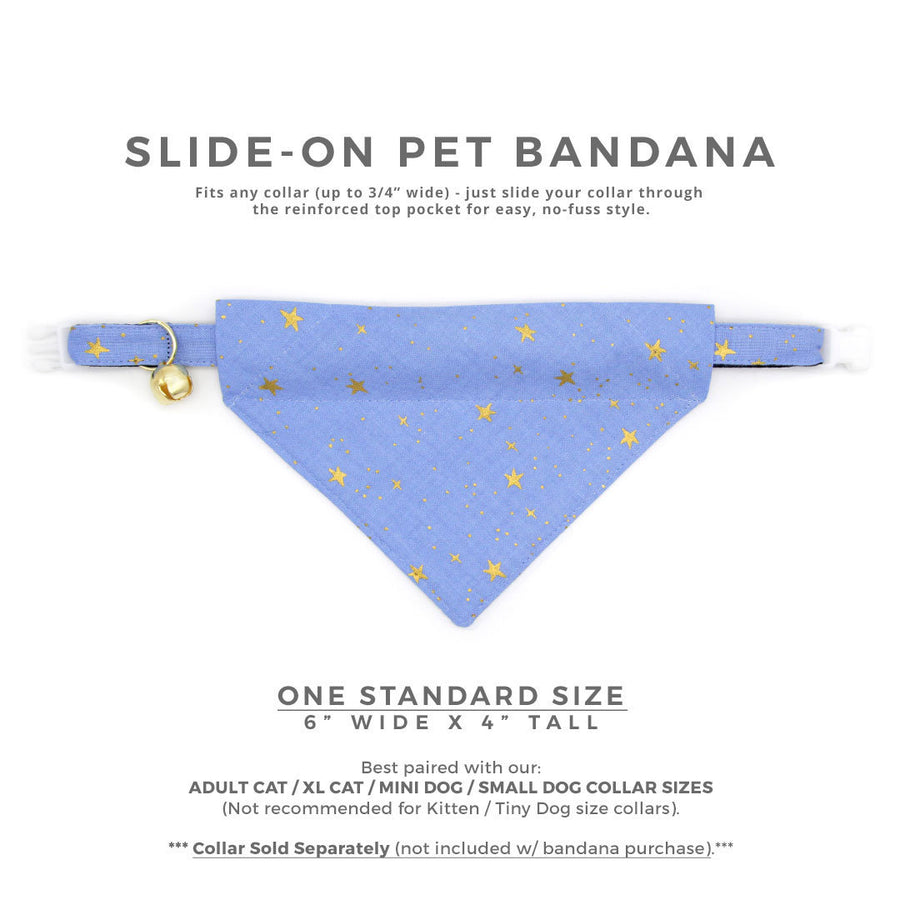 "Rifle Paper Co® Pet Bandana - ""Dusk"" - Periwinkle Blue w /  Gold Stars Bandana for Cat + Small Dog / Slide-on Bandana / Over-the-Collar (One Size)"