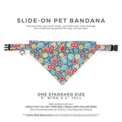 "Pet Bandana - ""Intergalactic"" - Spaceship Bandana for Cat + Small Dog / Rocket, Space, Galaxy / Slide-on Bandana / Over-the-Collar (One Size)"