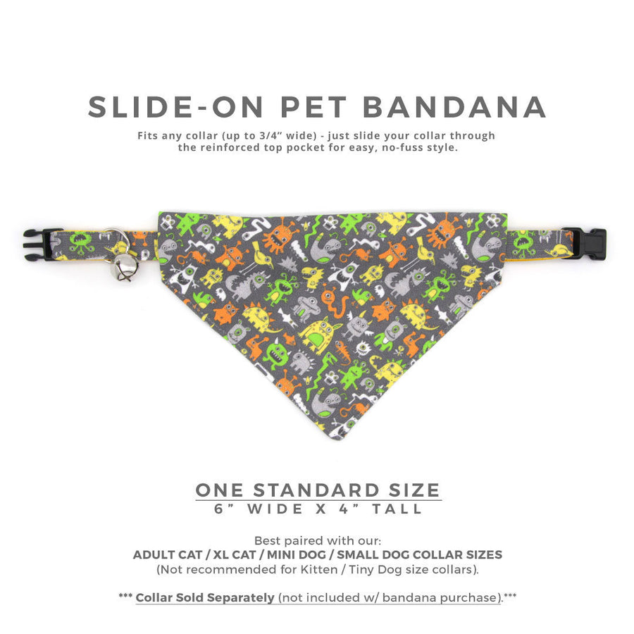 "Pet Bandana - ""Monster Medley"" - Aliens & Monsters Bandana for Cat + Small Dog / Slide-on Bandana / Over-the-Collar (One Size)"
