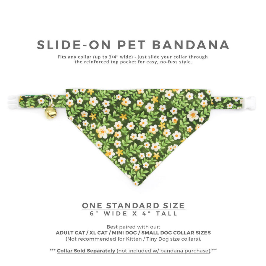 "Pet Bandana - ""Hazel"" - Green Floral Bandana for Cat + Small Dog / Spring + Summer / Slide-on Bandana / Over-the-Collar (One Size)"