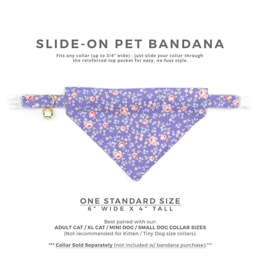 "Pet Bandana - ""Wisteria Way"" - Lavender Purple Floral Bandana for Cat + Small Dog / Spring + Summer / Slide-on Bandana / Over-the-Collar (One Size)"