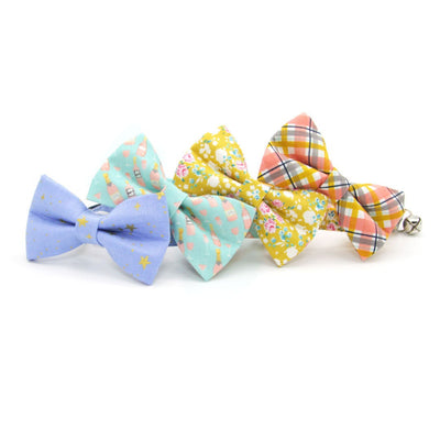 "Bow Tie Cat Collar Set - ""Lorelei"" - Mustard Yellow Floral Cat Collar w/ Matching Bowtie / Cat, Kitten, Small Dog Sizes"