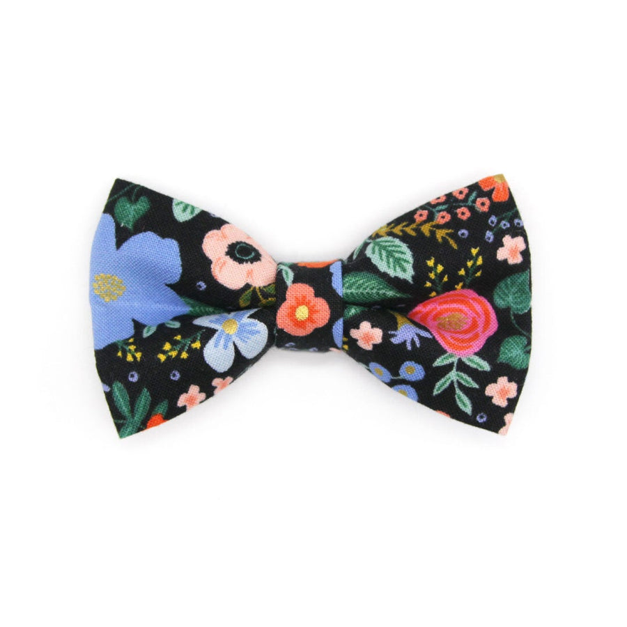 "Rifle Paper Co® Bow Tie Cat Collar Set - ""Muse"" - Black Floral Cat Collar w/ Matching Bowtie / Cat, Kitten, Small Dog Sizes"