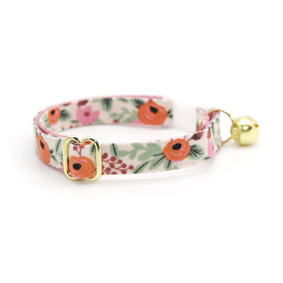 "Rifle Paper Co® Bow Tie Cat Collar Set - ""Juliet"" - Pink Floral Cat Collar w/ Matching Bowtie / Cat, Kitten, Small Dog Sizes"