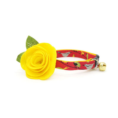 "Cat Collar + Flower Set - ""Bird Song"" - Birds on Red Cat Collar w/ Yellow Felt Flower (Detachable)"