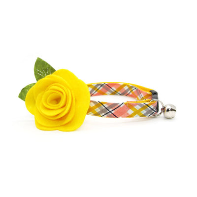 "Cat Collar + Flower Set - ""Daydreamer"" - Coral + Yellow Plaid Cat Collar w/ Yellow Felt Flower (Detachable)"