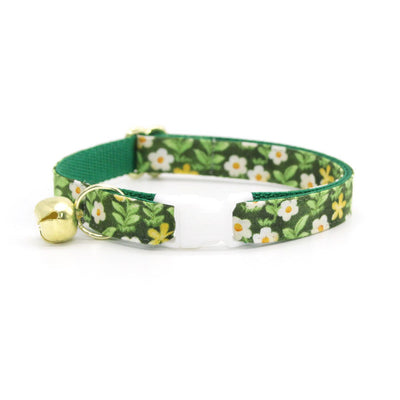 "Cat Collar + Flower Set - ""Hazel"" - Green Floral Cat Collar w/ Yellow Felt Flower (Detachable)"