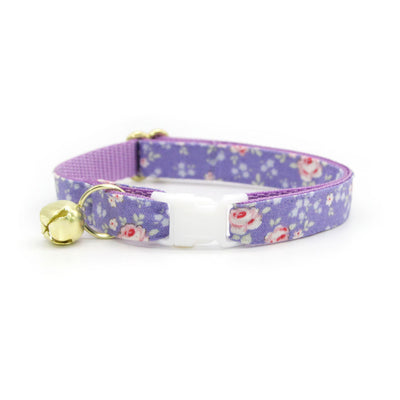 "Cat Collar + Flower Set - ""Wisteria Way"" - Purple Floral Cat Collar w/ Lavender Felt Flower (Detachable)"