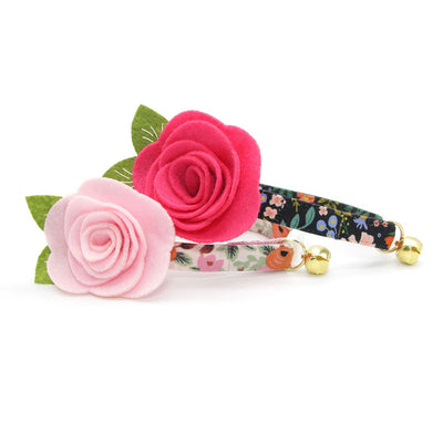 "Rifle Paper Co® Cat Collar + Flower Set - ""Juliet"" - Blush Pink Floral Cat Collar w/ Baby Pink Felt Flower (Detachable)"